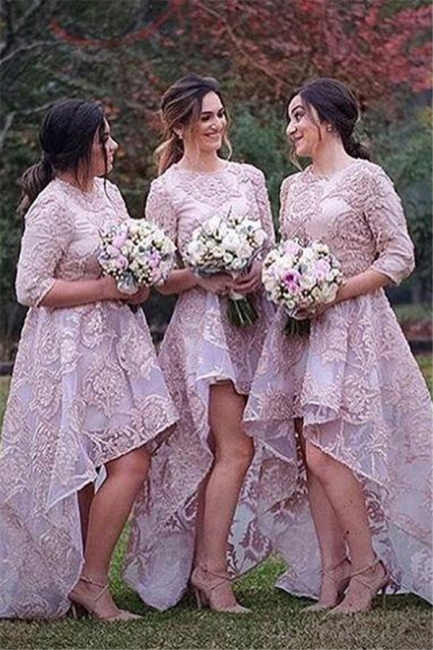 Half Sleeves Lace High Front Low Back Bridesmaid Dresses   Wedding Party Dress