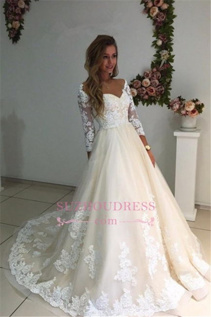 3/4 Sleeves Bridal Gowns  A-Line Champagne Appliques Tulle Backless Lace Wedding Dresses