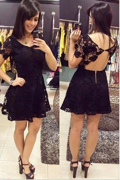 Short Sleeve Black Lace Homecoming Dress Sexy Open Back Mini Summer Dresses