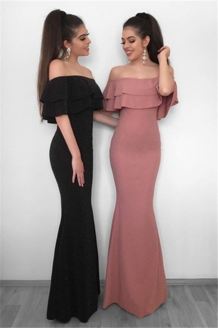 Simple Sheath Off the Shoulder Evening Dresses |  Floor Length Ruffles  Formal Dresses