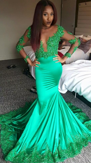 Green Long Sleeve Mermaid Evening Dresses  Stretch Satin Illusion Lace Prom Dress CE0017
