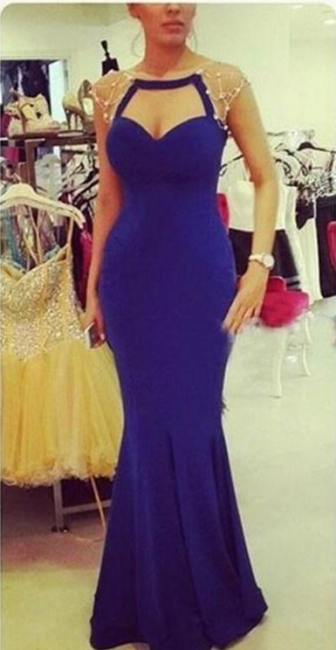 Sexy Mermaid Blue Floor Length Evening Dress Latest Open Back  Formal Occasion Dress