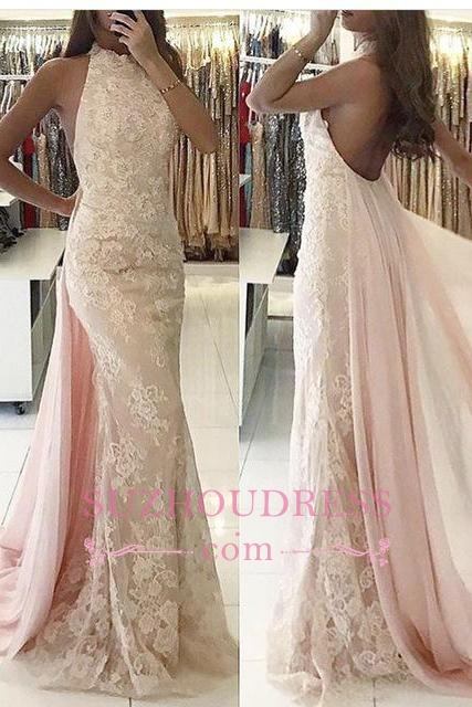 Newest Backless Applqiues Tulle Mermaid Halter Sweep-Train Evening Dress