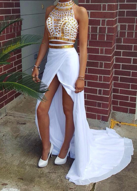 Halter Chiffon White Hi-Lo Separate Prom Dress with Beadings Crystal Designer Fitted Special Occassion Dresses