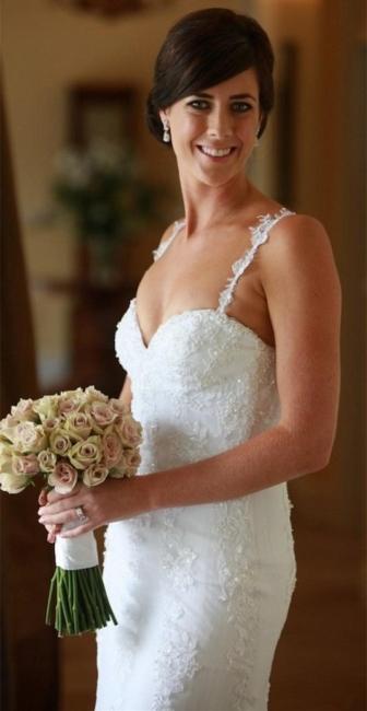 Sexy Spaghetti Lace Appliques Wedding Dress Sheath Court Train Tulle Bride Dresses