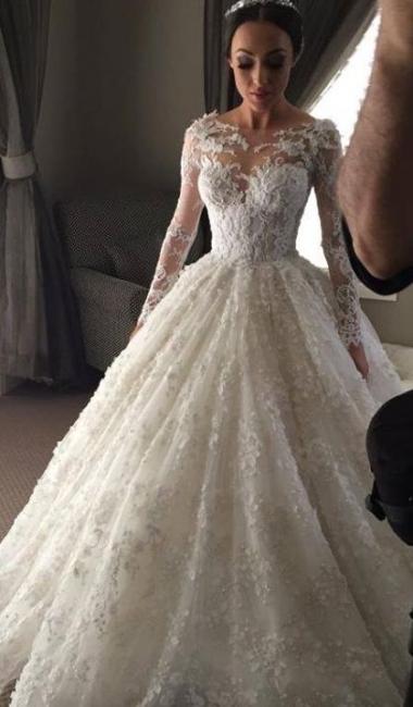 New Arrival Ball Gown Princess Dress Long Sleeve 3D Lace Wedding Dress  BA2810