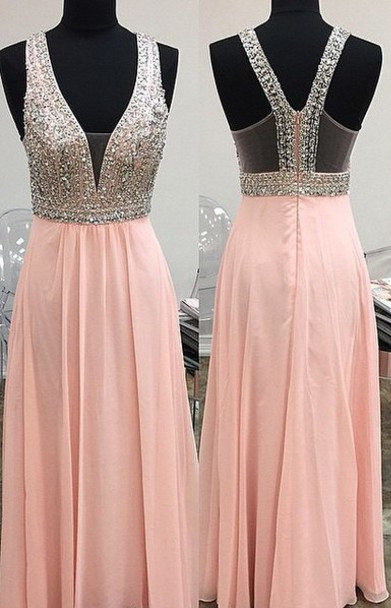 New Arrival Crystal Prom Dress with Beadings Sparkly A-Line Floor Length Zipper Evening Gowns