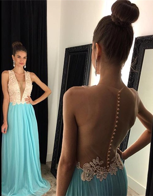 A-Line Plunging Neck Chiffon Prom Dress New Arrival Open Back  Evening Gown