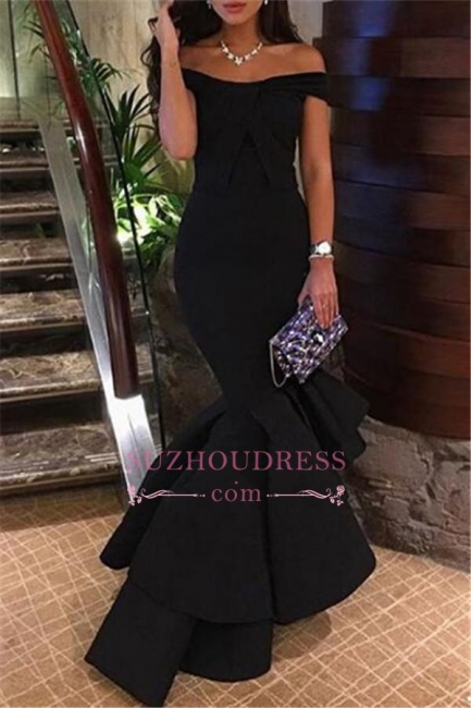 Mermaid Ruffles Black Off The Shoulder Prom Dress  Tiered Long Sleeve Dress BA4619