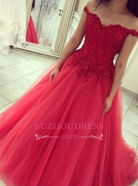 Elegant Appliques Beads Evening Gowns Off-the-shoulder Red Tulle Long  Prom Dress
