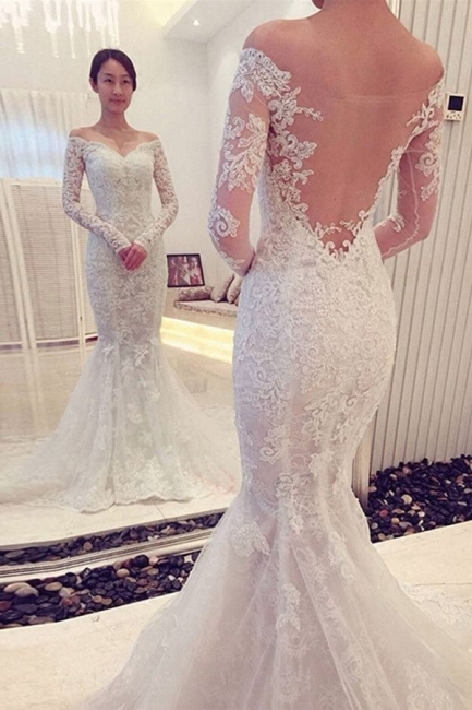 Off-the-shoulder Long Sleeve Mermaid Lace Wedding Dress | Bridal Gowns Online