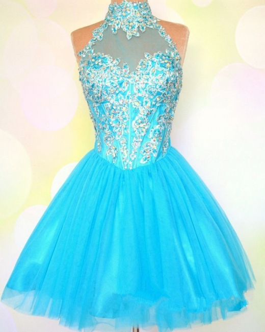 Blue High Collar Halter Crystal Mini Homecoming Dress Tulle Applique Zipper Short Cocktail Dress