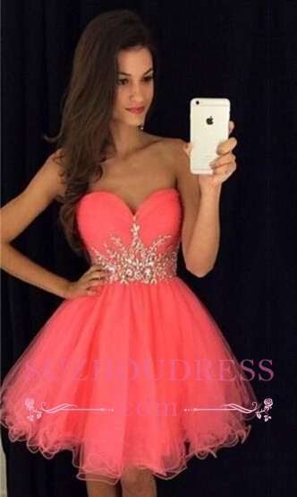 Mini A-line Homecoming Dress  Tulle Sweetheart Beadings Hoco Dress