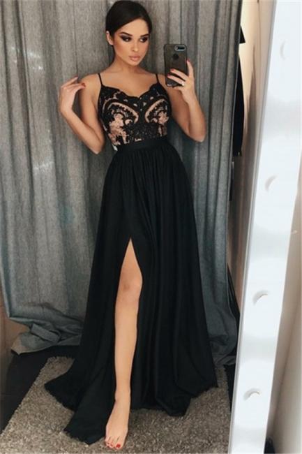 Black A-line Spaghetti Straps Evening Dresses   Side Slit Appliques Prom Dresses