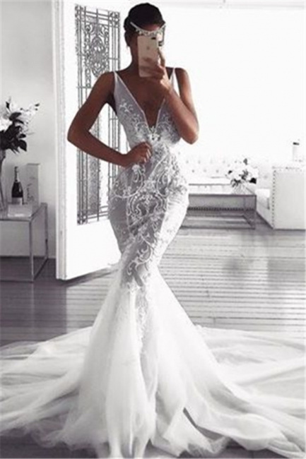 Glamorous Mermaid Deep v-Neck Wedding Dresses | Sleeveless Tulle Appliques Bridal Gowns