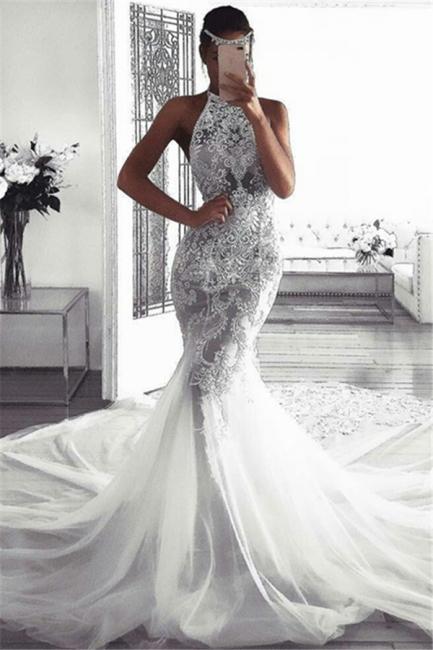 Elegant Sleeveless Halter Wedding Dresses | Sexy Mermaid Tulle Bridal Dresses