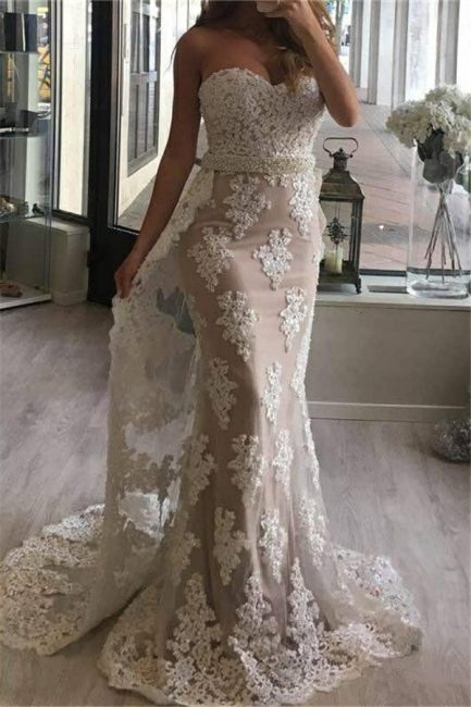 Sweetheart Sheath Lace Prom Dresses with Beads Belt Sexy Long Evening Gown with Long Train