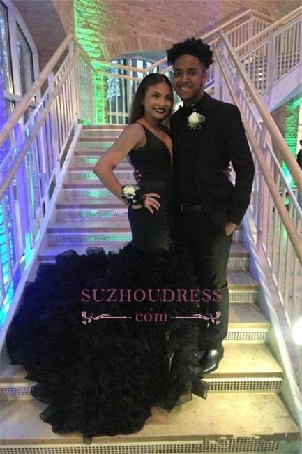 Black Sleeveless Sexy Deep-V-Neck Mermaid Prom Dress