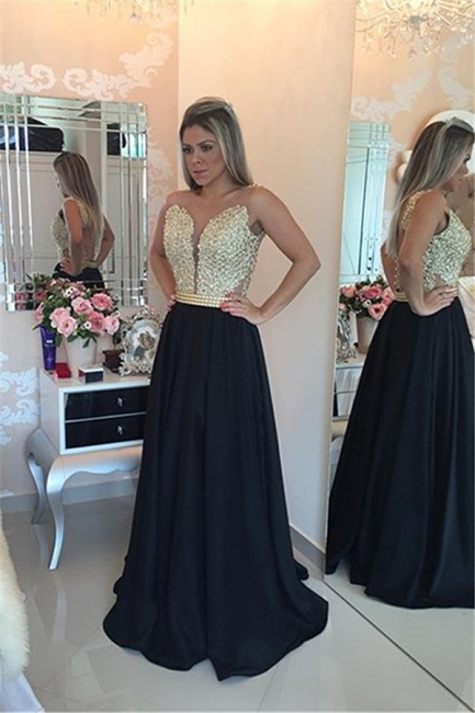 Black Prom Dresses Sleeveless Gold Beads Illusion Back Evening Gowns