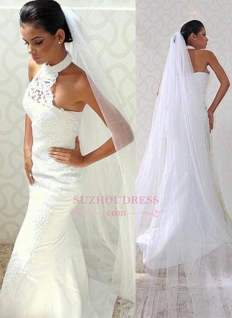 Halter Mermaid Lace Chic Sexy Sleeveless Court-train Wedding Dress
