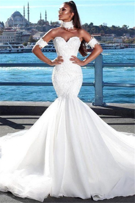 Alluring Lace Wedding Dresses with Choker Mermaid Sweetheart Modern Bridal Gowns Online