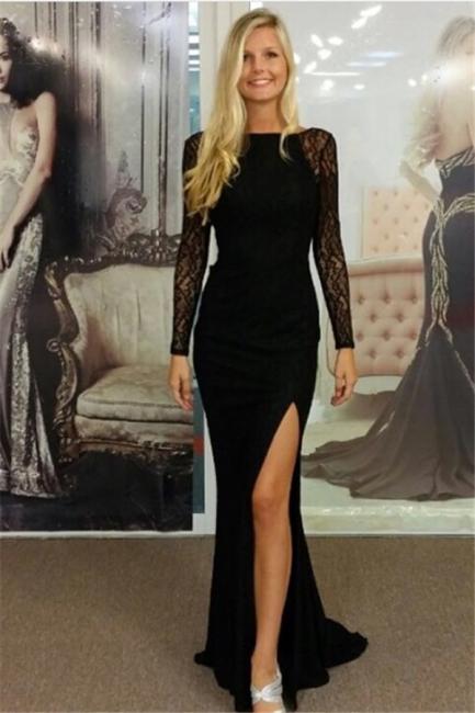 Black Bateau Spandex Evening Dresses Backless Long Sleeves  Prom Dresses