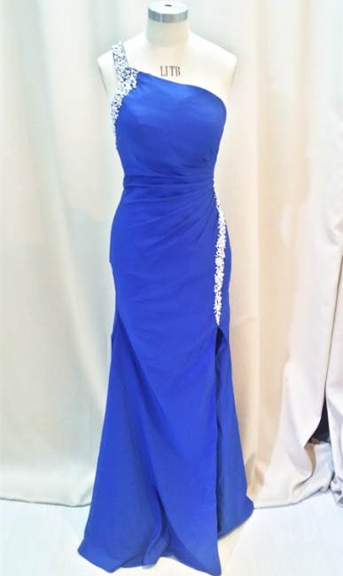Formal Crystal One Shoulder Royal Blue Long Dresses for Juniors Chiffon Fitted Cheap Modest Zipper Prom Dresses