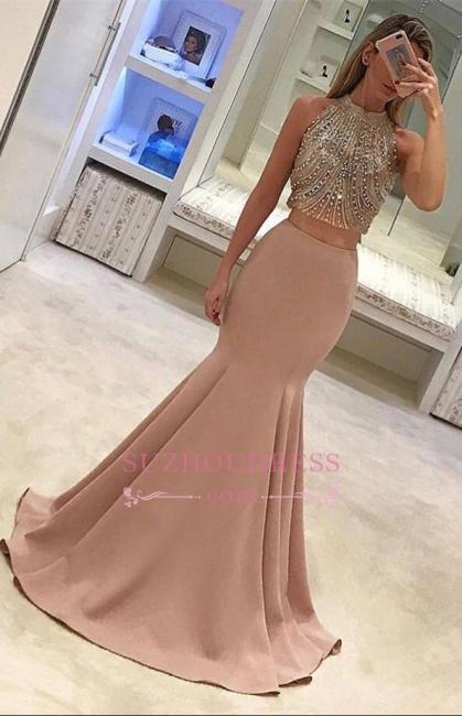 Mermaid Gorgeous Two Piece Beads Sleeveless Prom Dress BA4523