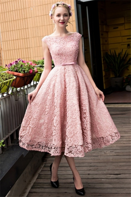 Lace-up Lace Tea-Length Beadings Glamorous A-Line Homecoming Dresses BA4112