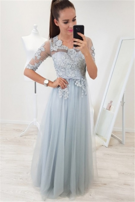 Glamorous A-line Half-Sleeves Evening Dresses     Appliques Floor Length Party Dresses