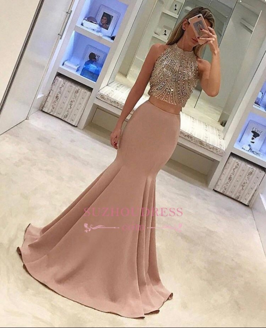 Mermaid Gorgeous Two Piece Beads Sleeveless Prom Dress BA4523