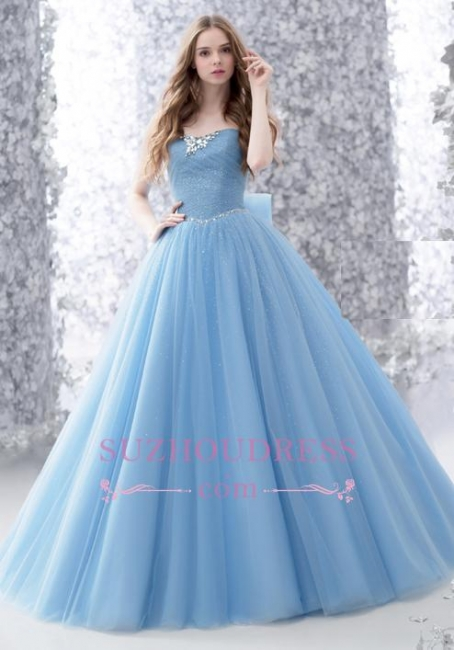 Romantic Strapless Blue Bow Strapless Tulle Wedding Gowns  Sleeveless Sparkly Evening Dress with Bowknot