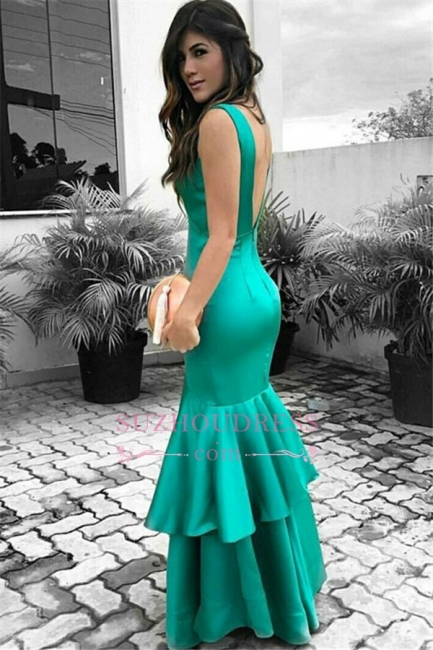 Green Sleeveless Prom Dresses   Open Back Ruffles Sexy Evening Dresses