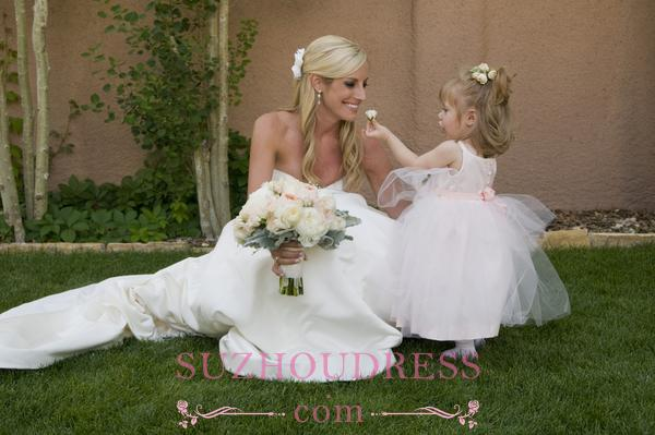 Sleeveless Straps Tulle Cute Pageant Dress  Long Flower Girl Dress