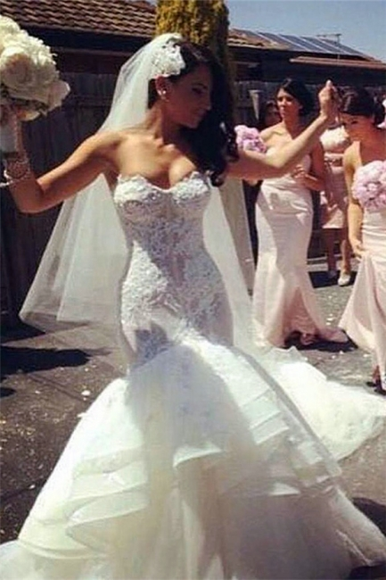 Strapless  Sexy Wedding Dresses Puffy Skirt Lace Sweetheart Bridal Gowns