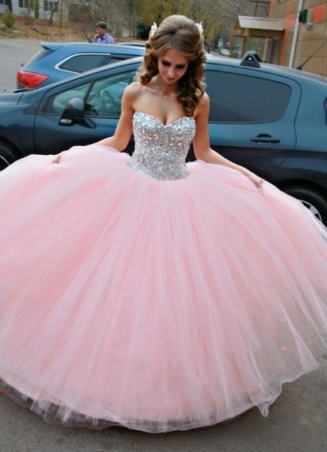 Vestido de Debutante Pink Ball Gown Wedding Dress Sweet Quinceanera Dresses with Crystals CJ0324
