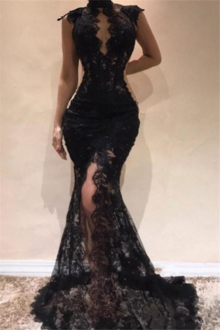 Affordable High-Neck Lace Appliques Black Prom Dress Sexy Front Slit Sleeveless Formal Dresses On Sale