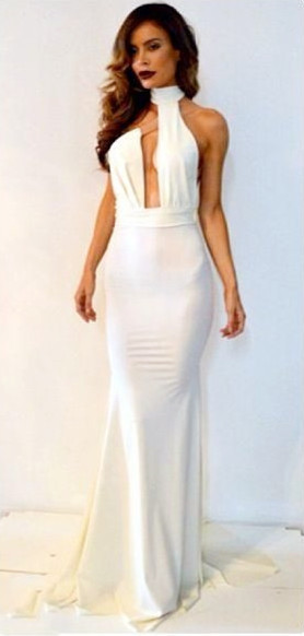 Sheath White Halter Backless Evening Dress Sexy Floor Length Simple Popular Custom Made Dresses for Women