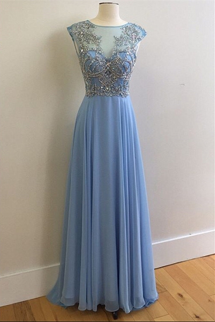 Sky Blue Prom Dresses Sparkly Crystals Open Back Long Evening Dress CE046