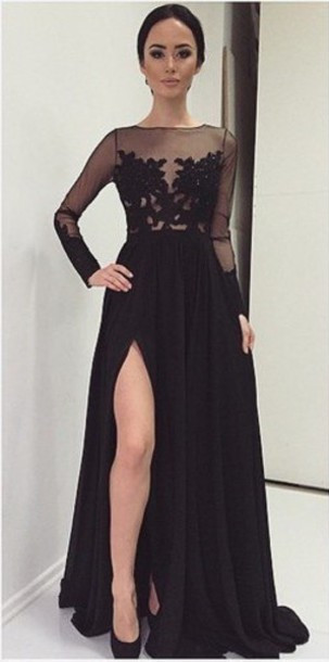 A-Line Black Long Sleeve Tulle Lace Evening Dress Latest Sweep Train Side Slit Prom Dresses TB0258