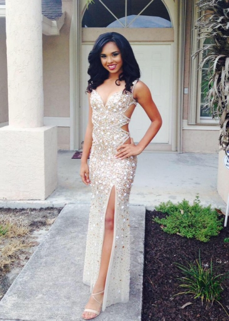 Sparkly Beads Crusyals Prom Dresses Side Slit Cutaway Evening Dress BA4156
