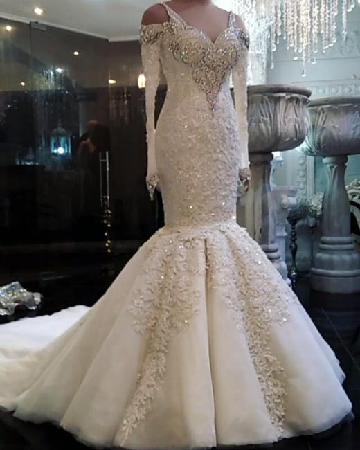 Vintage Lace Wedding Dresses with Sleeves Mermaid Long Sleeve Bridal Gowns On Sale