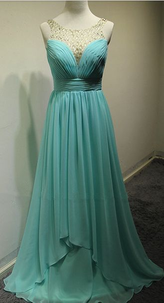 Blue Chiffon Sexy Evening Dress Ruffle  Popular Long Dress with Beadings