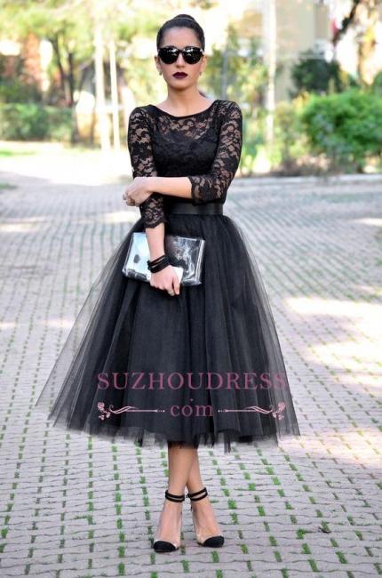 A-Line Tulle Tea-Length Lace Popular Black Evening Gowns BA7250