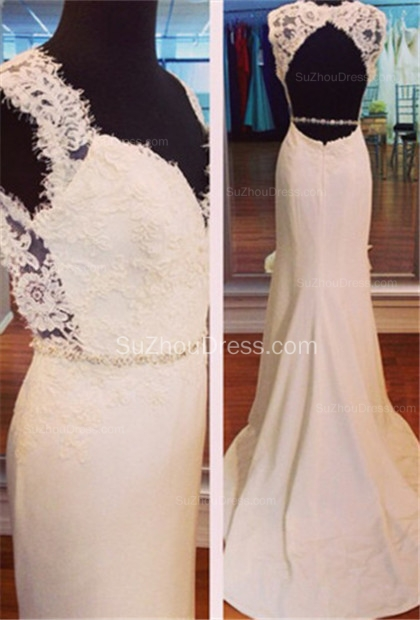 White Lace Sweetheart Evening Dresses  Mermaid Sweep Train Prom Gowns