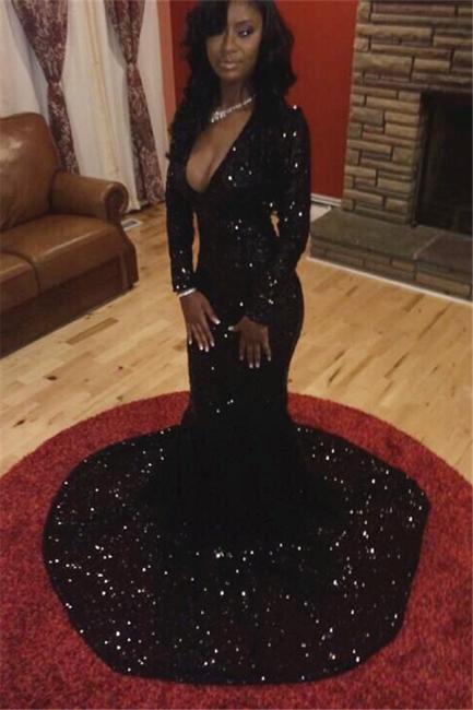 Sexy Deep V-neck Black Sequins Evening Dresses Mermaid Long Sleeve  Prom Dress CE047