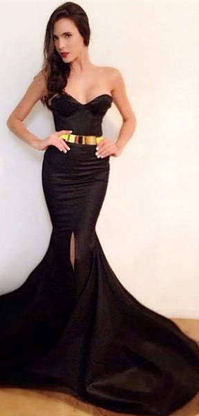 Sexy Mermaid Black Simple Long Evening Dresses Sweetheart Alluring  Sweep Train Evening Party Gowns with Belt