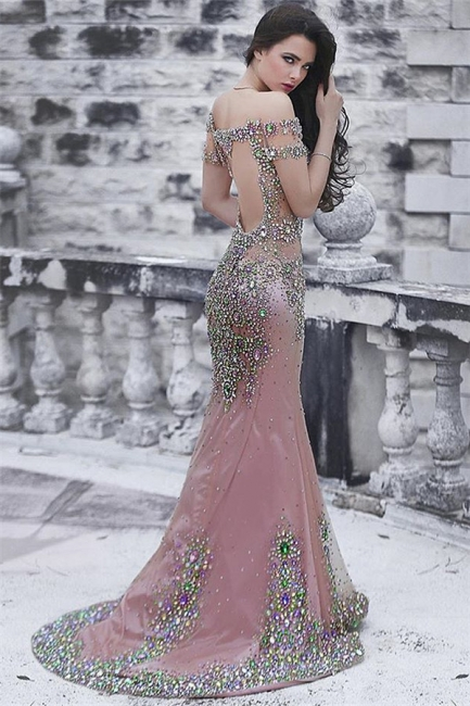 Open Back Pink Evening Gown Long Mermaid Beading Crystals Off The Shoulder Formal Dress