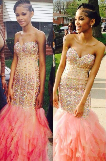 Sheath Sweetheart Strapless Prom Dresses  Ruffles Tulle Crystals Evening Dress