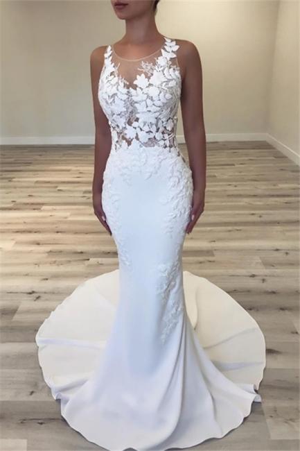 Glamorous Mermaid Wedding Dresses Sleeveless Sheer Tulle Bridal Gowns Online